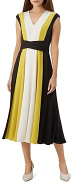 Hobbs London Bailly Color-Block V-Neck Dress