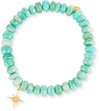 Sydney Evan 7mm Beaded Amazonite Bracelet with Diamond Starburst Charm