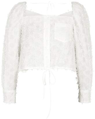 Pushbutton PushBUTTON White Fringed Broderie Anglaise Top
