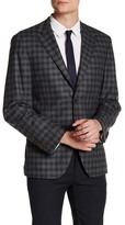 Ike Behar Olive Plaid Double Button Notched Lapel Jacket