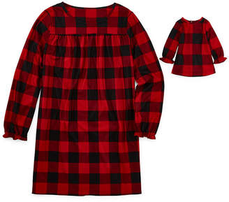 Buffalo David Bitton North Pole Trading Co. Plaid Family Girls Plus Flannel Nightgown Long Sleeve Round Neck