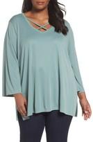 Sejour Plus Size Women's Cross Front Bell Sleeve Top