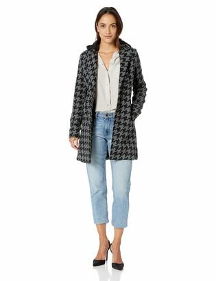 Yoki Women's Single Breast Houndstooth Long Wool Jacket