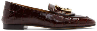 Chloé Burgundy Croc C Loafers