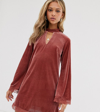 N. Ebonie Ivory ebonie ivory mini dress with high neck and lace trims-Pink