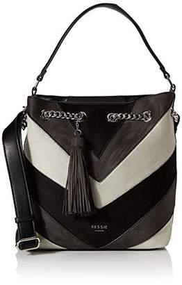 BESSIE LONDON Womens Suede Ring Chained Tassel Colour Block Shopper Shoulder Bag