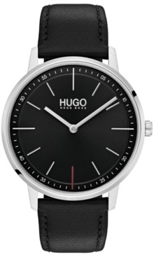 HUGO Men's #Exist Ultra Slim Black Leather Strap Watch 40mm