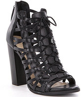 Jessica Simpson Riana Leather Caged Peep-Toe Lace-Up Booties