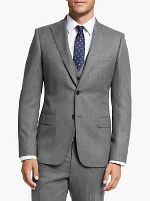 John Lewis & Partners Wool Pinstripe Slim Fit Suit Jacket, Grey