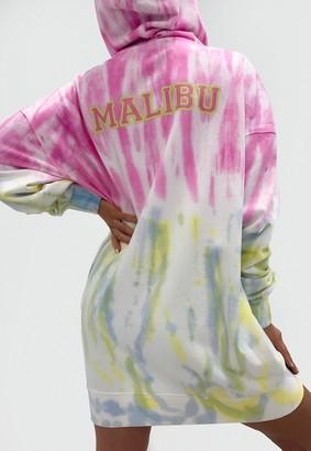 Missguided Pink Tie Dye Malibu Oversized Hoodie Dress