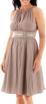 R & M Richards R&M Collection Sleeveless Taffeta Halter Fit-and-Flare Dress - Petite