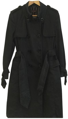 Escada Black Cotton Trench Coat for Women Vintage