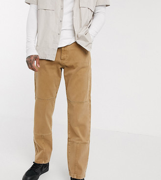 Collusion seam detail straight leg jeans in camel