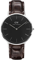 Daniel Wellington Crystal, Stainless Steel Crocodile-Embossed Leather Strap Watch