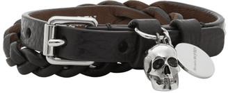Alexander McQueen Black Braided Leather Wrap Bracelet