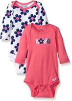 Gerber Baby Girls 2 Pack Long Sleeve Variety Onesies