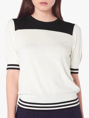 LK Bennett Brielle Short Sleeve Knit Jumper, Navy/White