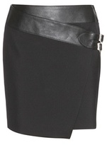 Saint Laurent Wool And Leather Skirt