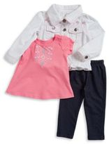 Nannette Little Girls Denim Jacket, Split Back Tee and Leggings Set