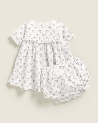 Petit Bateau Newborn Girls) Two-Piece Floral Dress Set