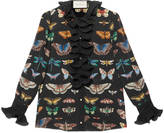 Gucci Butterfly print shirt with ruffle detail
