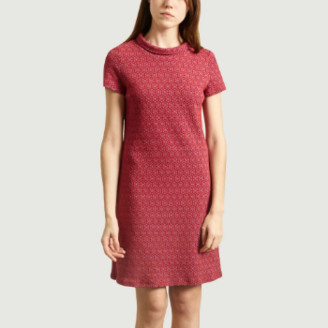 Antoine et Lili - Red Short Sleeve Aloe Dress - 2 | red | cotton and polyester - Red/Red