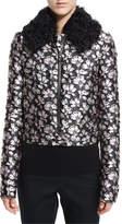 Giambattista Valli Jacquard Bomber Jacket w/Shearling Fur Collar, Pink/Gray
