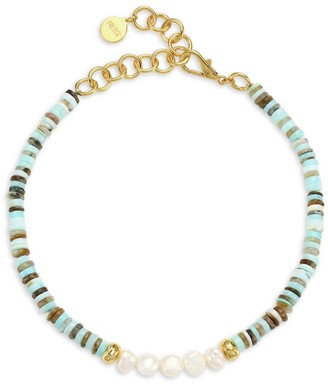 Nest 22K Yellow Goldplated, Blue Opal & 9MM Pearl Beaded Choker Necklace