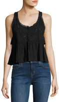 Current/Elliott The Lace Scoop-Neck Tank Top, Black