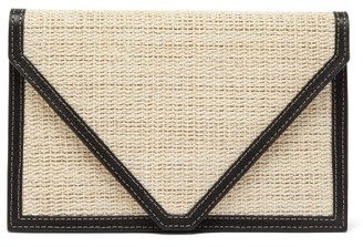 Hunting Season Envelope Leather-trimmed Canvas Clutch - Womens - Black Multi
