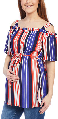 Times 2 Women's Tunics MULTI - Blue & Orange Stripe Shoulder-Cutout Empire-Waist Top