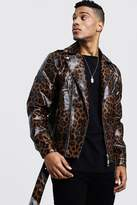 BoohoomanBoohooMAN Mens Brown Faux Leather Biker jacket In Leopard Print, Brown