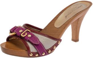 Dolce & Gabbana Multicolor Leather Buckle Detail Wooden Platform Slide Sandals Size 36