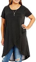 Moa Moa Plus Short Sleeve Split Front Dress