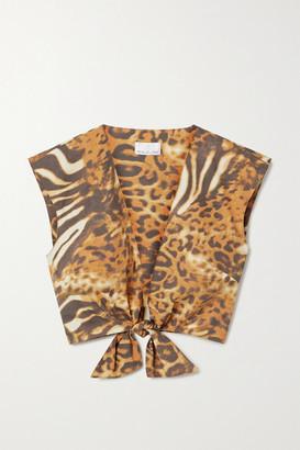 Miguelina Marcy Cropped Tie-front Animal-print Cotton-poplin Top - Orange