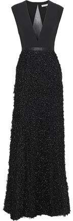 Halston Tulle And Cady-paneled Fringed Metallic Boucle Gown