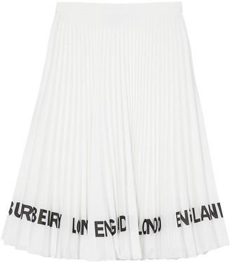 Burberry Logo-Print Pleated Skirt