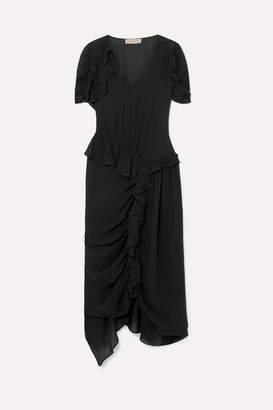 Preen Line Ayaka Ruffled Ruched Asymmetric Crepe De Chine Dress - Black
