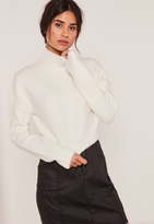 Missguided White Turtleneck Fluffy Sweater