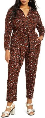 ELOQUII Leopard Print Long Sleeve Stretch Cotton Jumpsuit
