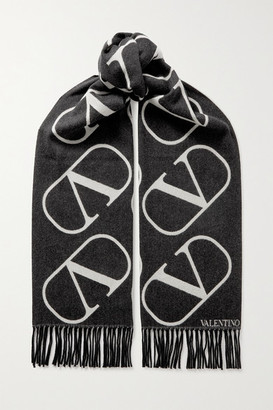 Valentino Fringed Intarsia Wool And Cashmere-blend Scarf
