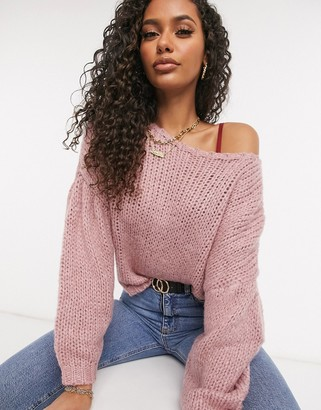 NA-KD jumper with dropped shoulder and balloon sleeve in pink