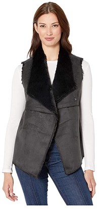 Dylan by True Grit Madison City Faux Sueded Shearling Snap Vest (Black/Black) Women's Vest