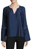 Ramy Brook Astrid Satin Bell-Sleeve Top, Navy