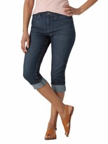 Riders by Lee Indigo Womens Rolled Cuff Midrise Denim Capri Jeans