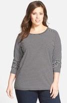 Sejour Plus Size Women's Stripe Forward Shoulder Tee