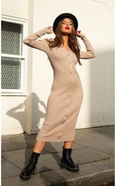 BEIGE Slaytwins SlayTwins Sofia Knitted Long Sleeve Midi Dress with Buttons in