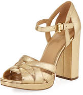 MICHAEL Michael Kors Annaliese Metallic Leather Platform Sandal, Gold