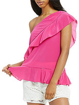 Trina Turk Latana One-Shoulder Ruffle Top