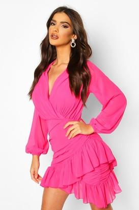 boohoo Wrap Front Frill Hem Mini Dress